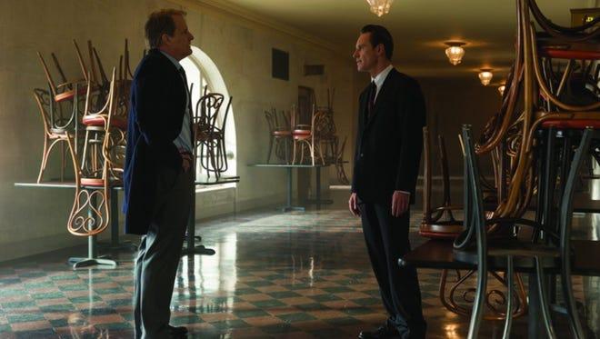 """Jeff Daniels and Michael Fassbender in """"Steve Jobs."""""""