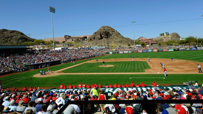 A view of Tempe Diablo Stadium, spring training home of the Los Angeles Angels of Anaheim.