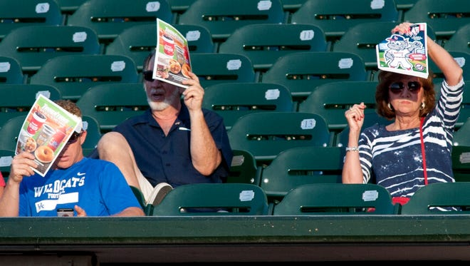 Fans shield themselves from the bright sun with game programs.13 June, 2016