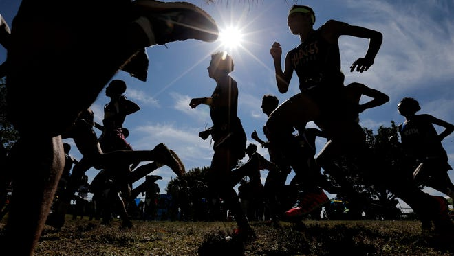 The District 1-5A boys leave the start line Saturday at the District Cross Country Championships at the Chamizal National Memorial.