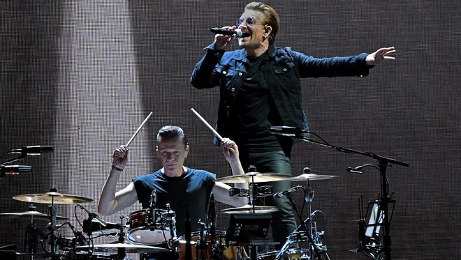 Drummer Larry Mullen Jr. (left) and singer Bono of U2 perform during the Joshua Tree Tour 2017 at MetLife Stadium on June 28, 2017, in East Rutherford, New Jersey.