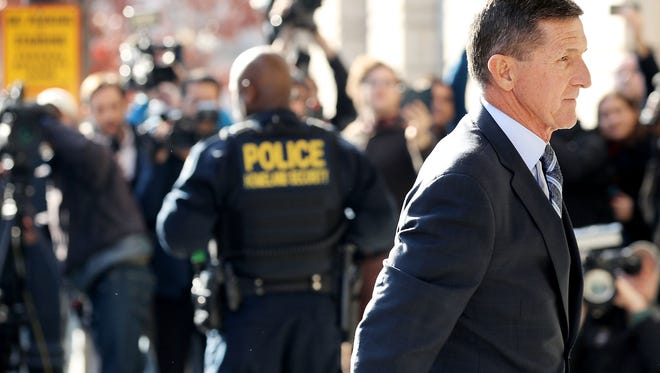Michael Flynn, former national security advisor to President Donald Trump, arrives for his plea hearing at the Prettyman Federal Courthouse December 1, 2017 in Washington, D.C.