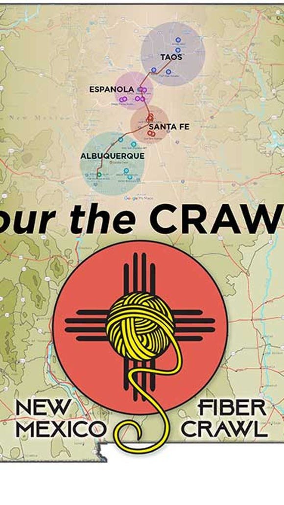 This map shows the four metropolitan areas where there will be concentrations of destinations for the New Mexico Fiber Crawl.