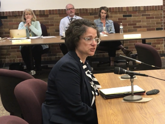 Cindy Olson addresses the Green Bay School Board following its vote to hire her as the new turnaround principal at Washington Middle School.