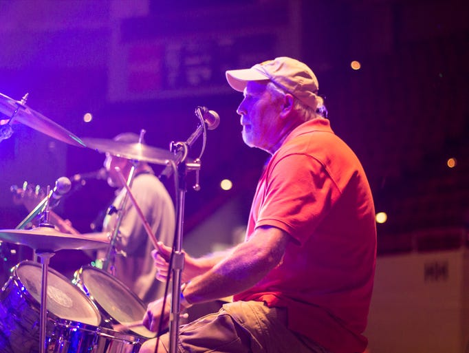Donald Anthony played drums with the Showdown Band during the second day of the International Rockabilly Music Festival at the Oman Arena