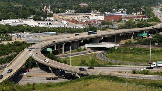 A view of I-75 and I-74 from Cincinnati State.