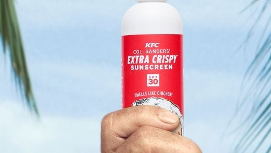The mad ad men and women behind the KFC campaign that brought us an assortment of deranged body-swapping Colonel Sanderses have produced a line of fried-chicken-scented sunscreen.