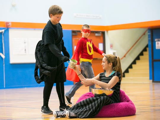 Whiteaker Middle School students perform short skits from classic fairytales that the students re-wrote to teach lessons about kindness for the school's anti-bullying assembly on Friday, Jan. 22, 2016. Next week the school will participate in the nation-wide Great Kindness Challenge, which challenges kids to perform as many kind deeds as they can in one week.
