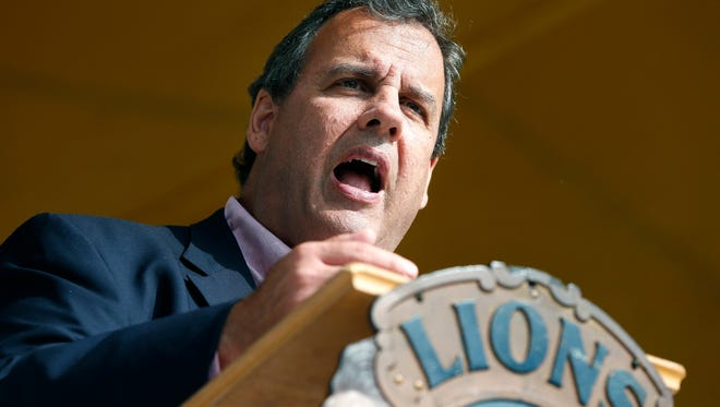 Republican presidential candidate, New Jersey Gov. Chris Christie speaks during a campaign stop at the Stop the Circle drug awareness rally in Manchester, N.H., Saturday, Aug. 29, 2015. (AP Photo/Michael Dwyer)