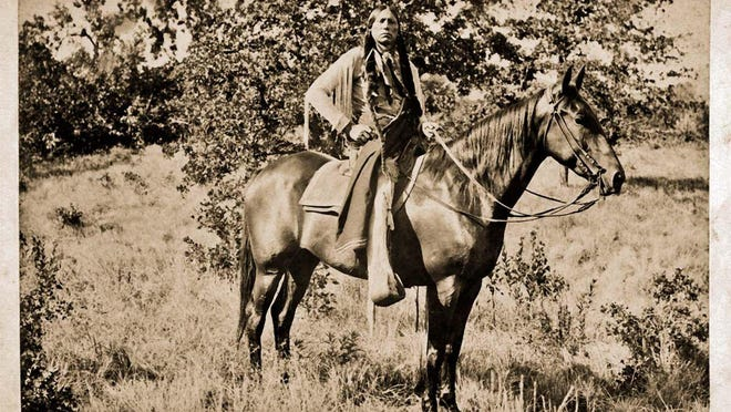 Comanche Chief Quanah Parker is pictured at Fort Sill in 1897.