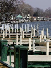 Docks and homes line the dam in 2015 on the north bank of 185-year-old Buckeye Lake east of Columbus, Ohio.