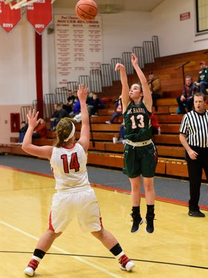 Oak Harbor's Emma Bergman established a school record with eight three-pointers Tuesday.
