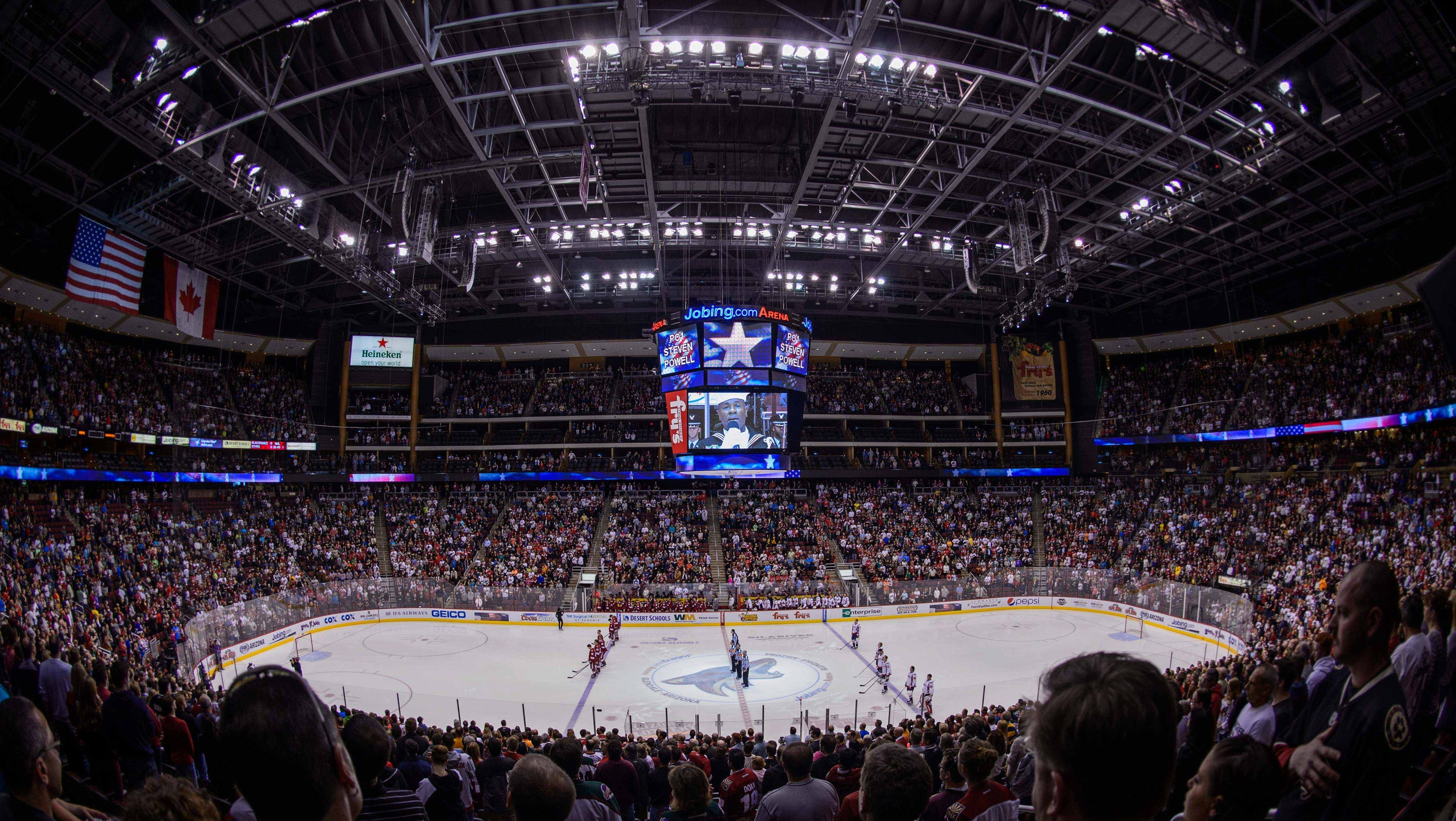 Arizona coyotes 39 home now officially gila river arena for Today s interiors phoenix