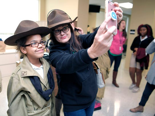 Girl Scouts member Navaeh Motley and Girl Scout leader