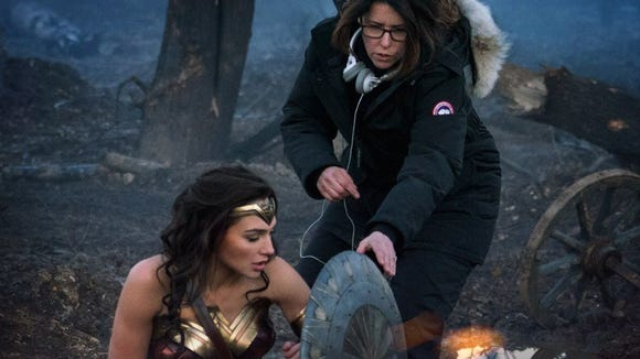Patty Jenkins works on set with Gal Gadot during the