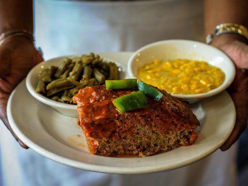 Meatloaf with fried corn and green beans is the signature and most popular fish at Down Home Cookin' in Indianapolis.