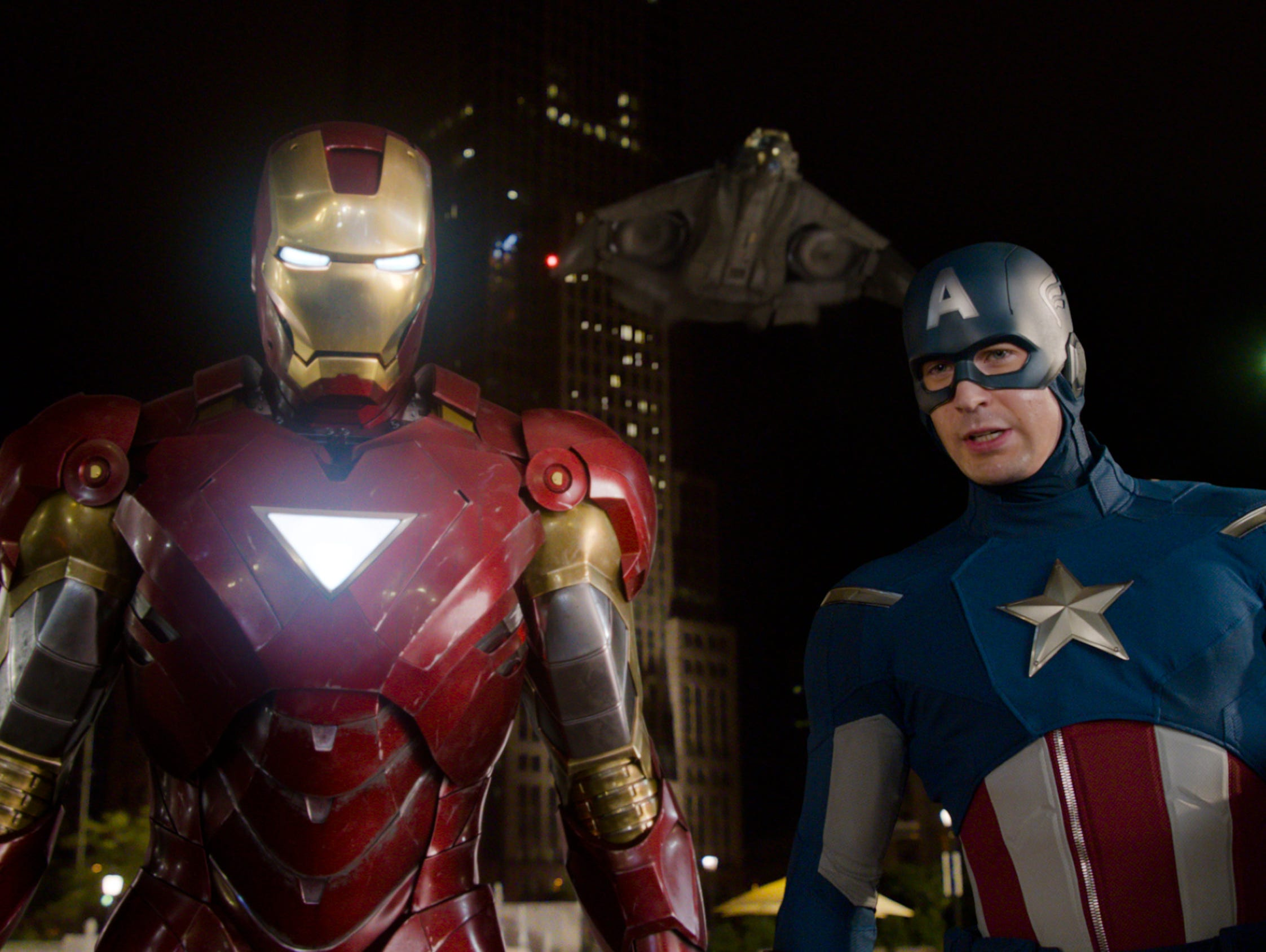 Iron Man, left, and Captain America in a scene from 'The Avengers.'