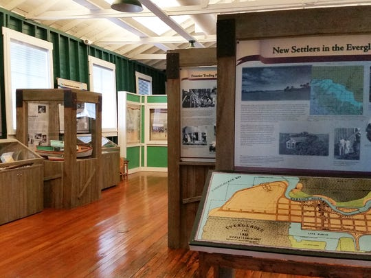 A display at the Museum of the Everglades tells visitors about the life of new settlers in the Everglades, Tuesday, Aug. 2.