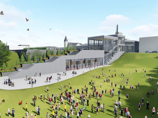 A design rendering of the Fox Cities Exhibition Center. The building will integrate into the north hillside of Jones Park.