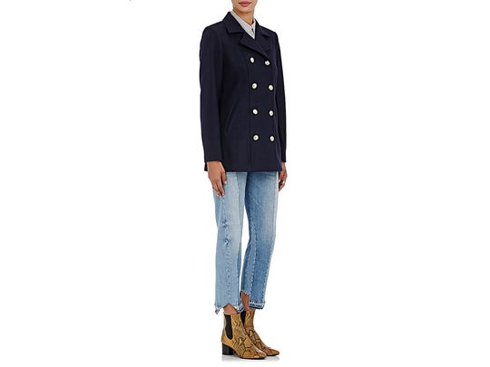 Julia picked Frame's double-breasted wool peacoat in navy as her fall must-have. &725, frame-store.com