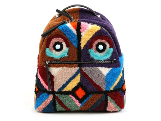 Fendi shearling Geometric Monster Backpack, $3,850, neimanmarcus.com