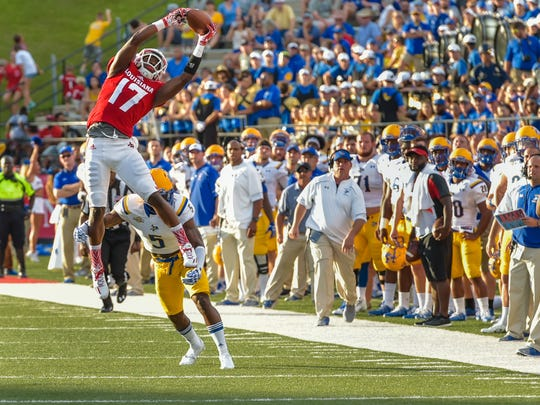 Ja'Marcus Bradley makes a leaping catch as the Cajuns take on McNeese for the second game of the season. September 10, 2016.
