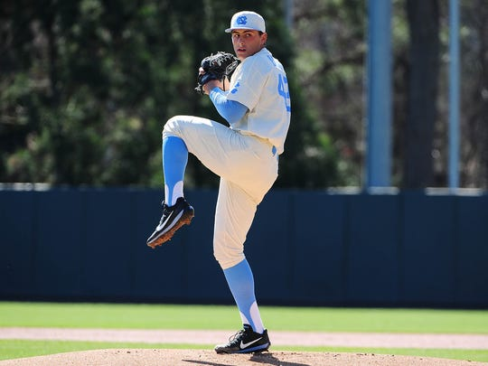 Luca Dalatri pitching for North Carolina