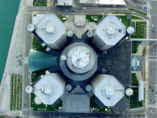 The Renaissance Center in downtown Detroit from the