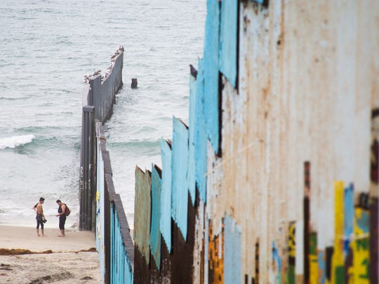 A wall separating Mexico from the U.S. is seen leading into the Pacific Ocean in Tijuana, Mexico in November 2017.