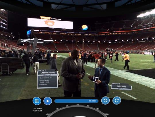 A still image of NFL video from Intel True VR  inside