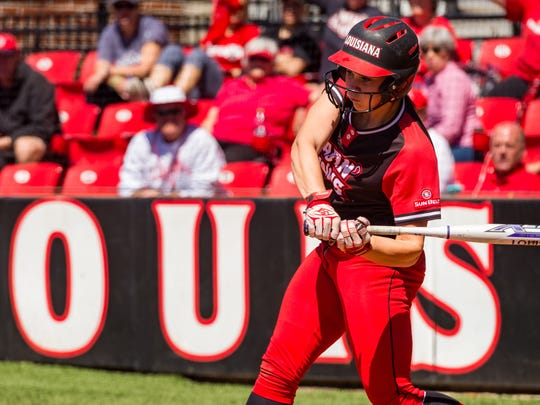 Brittany Holland at the plate as the Louisiana Ragin Cajuns softball take on Texas State.  Monday, April 16, 2018.