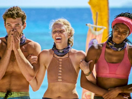 Michael Yerger, Kellyn Bechtold and Laurel Johnson on the tenth episode of Survivor: Ghost Island.