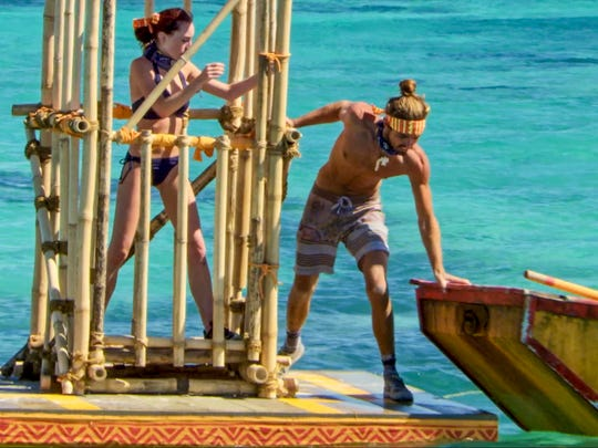 Chelsea Townsend and Sebastian Noel on the tenth episode of Survivor: Ghost Island.