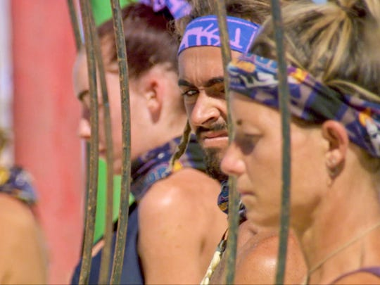 Sebastian Noel and Angela Perkins on the eleventh episode of Survivor: Ghost Island, airing Wednesday, May 2.