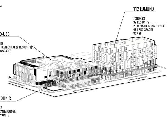 A line drawing of the three proposed buildings in