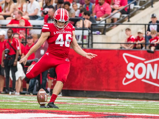 Cajuns kicker Kyle Pfau has made five of his six field goal tries for UL as a senior graduate transfer this fall.