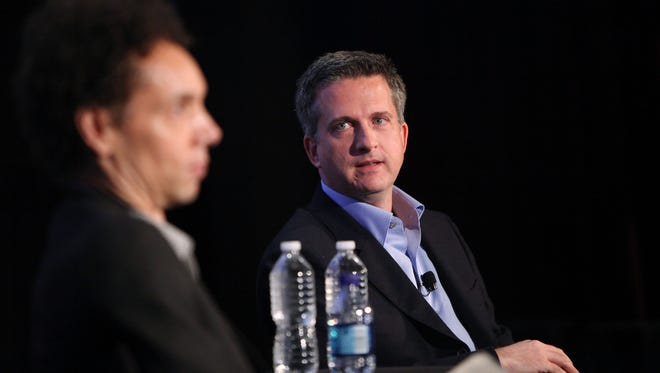 NEW YORK - OCTOBER 02:  (L-R) Journalist Malcolm Gladwell and sports writer Bill Simmons speak at the 2010 New Yorker Festival at DGA Theater on October 2, 2010 in New York City.  (Photo by Amy Sussman/Getty Images the New Yorker)