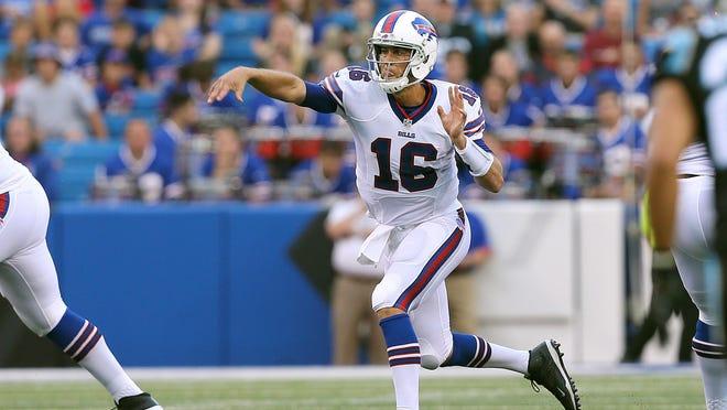 Bills quarterback Matt Cassel steps up to make this throw against Carolina.