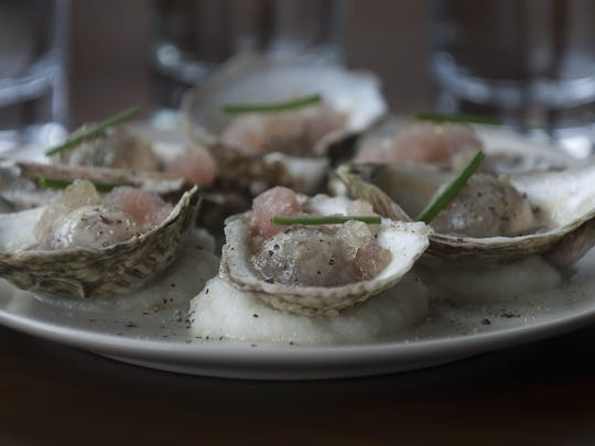A oysters/rhubarb granita dish is shown at the  Aldine Restaurant in Philadelphia.