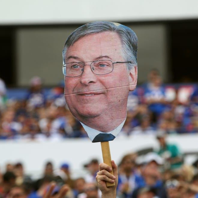 File Photo: A large photo of new Bills owner Terry Pegula made an appearance at Ralph Wilson Stadium.