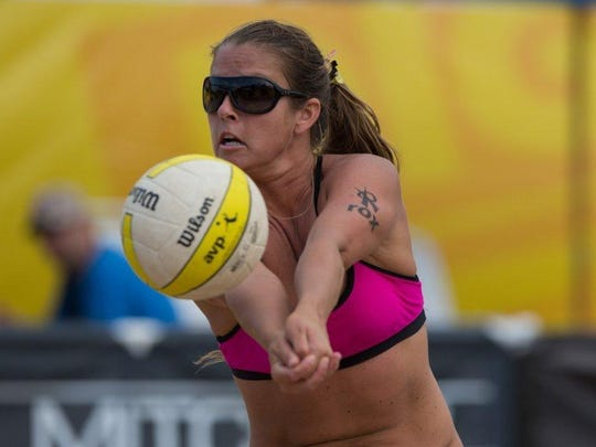 FILE - Former Florida Gulf Coast University volleyball player Brooke Sweat has become one of the top beach players in the country and will represent the U.S. in the 2016 Olympics. Photo courtesy of AVP Tour