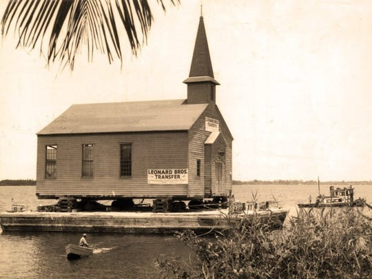 The old chapel at Camp Murphy in Hobe Sound was sawed in half and floated on a barge north on the Indian and St. Lucie rivers in 1947. It eventually become St. Joseph at its Southeast Ocean location.
