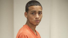 Jose Lopez, 19, of Pennsauken is arraigned in  Superior Court in Camden Friday on felony murder and armed robbery charges in the fatal shooting of 22-year-old Nhat Tran of Camden.