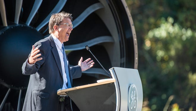 An excited Gov. Pat McCrory speaks at the grand opening of GE Aviation's new plant in South Asheville in October 2014. The plant makes jet engine components