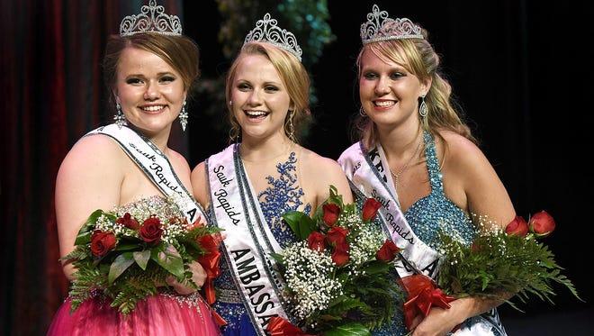 Tana Hendrickson, from left, Kelsey Christensen and Nikki Bukowski were crowned this year's Sauk Rapids Community Ambassadors during a program Thursday at Sauk Rapids-Rice High School.