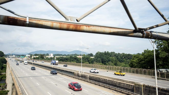 Work to build another set of bridges north of Bowen Bridge, which carries Interstate 240 across the French Broad River, would get a boost under a state Senate highway funding plan. Gov. Pat McCrory's plan contains no extra money for the project.