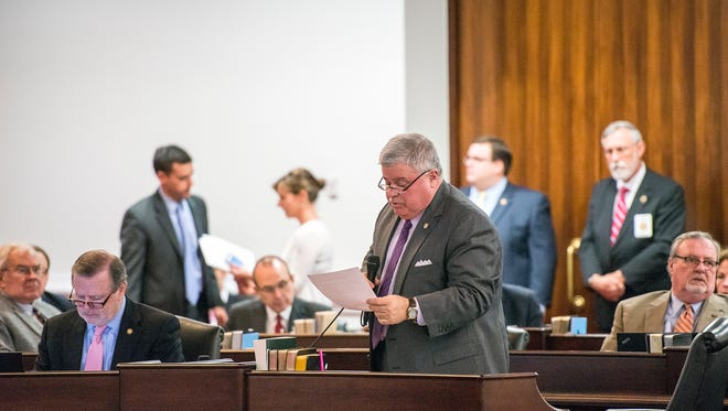 Sen. Tom Apodaca, R-Henderson, speaks in the state Senate in this file photograph.