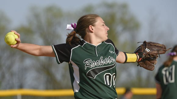 James Buchanan's Harley Rife throws a ball during a softball game against Shippensburg. The Rockets are currently fourth in the Mid Penn Colonial Division, but aren't counting themselves out yet.
