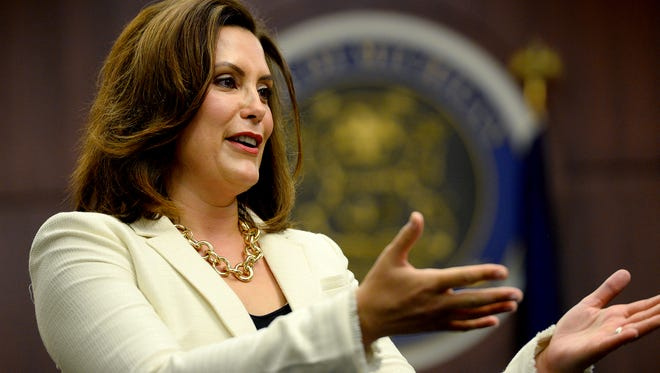 Former State Sen. Gretchen Whitmer speaks briefly after she was sworn in as Ingham County Prosecuting Attorney Tuesday, June 21, 2016 by Judge Janelle Lawless at the Veterans Memorial Courthouse in Lansing. Whither will serve a six-month term beginning July 2. She replaces Stuart Dunnings III, who was arrested in March.