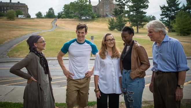 """Starring in the Hangar Theatre production of """"Third"""" by Wendy Wasserstein are, from left, Catherine Weidner, David Patterson, Dee Pelletier, Eunice Akinola and Malcolm Ingram"""